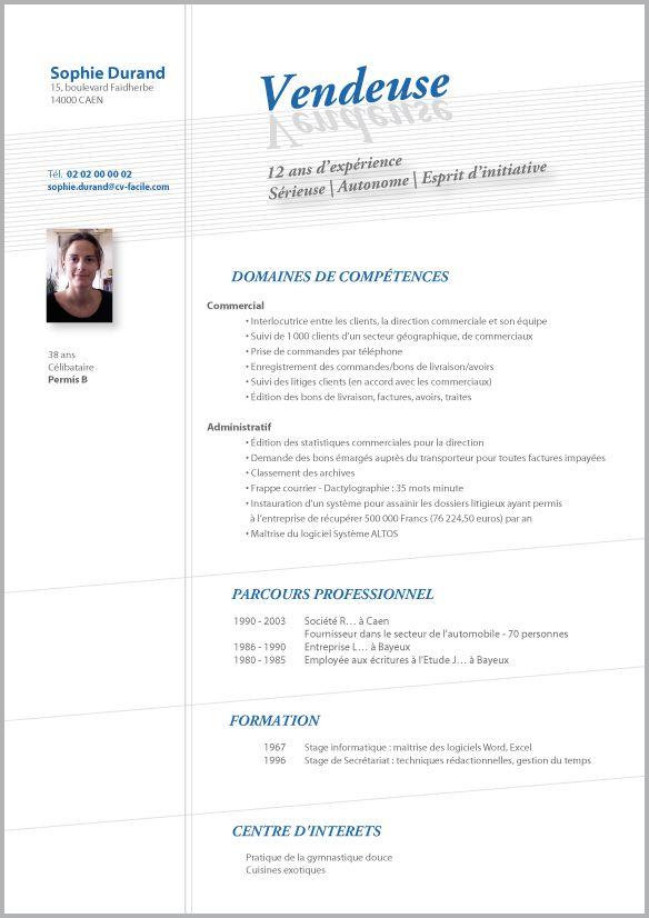 cv vendeuse pdf