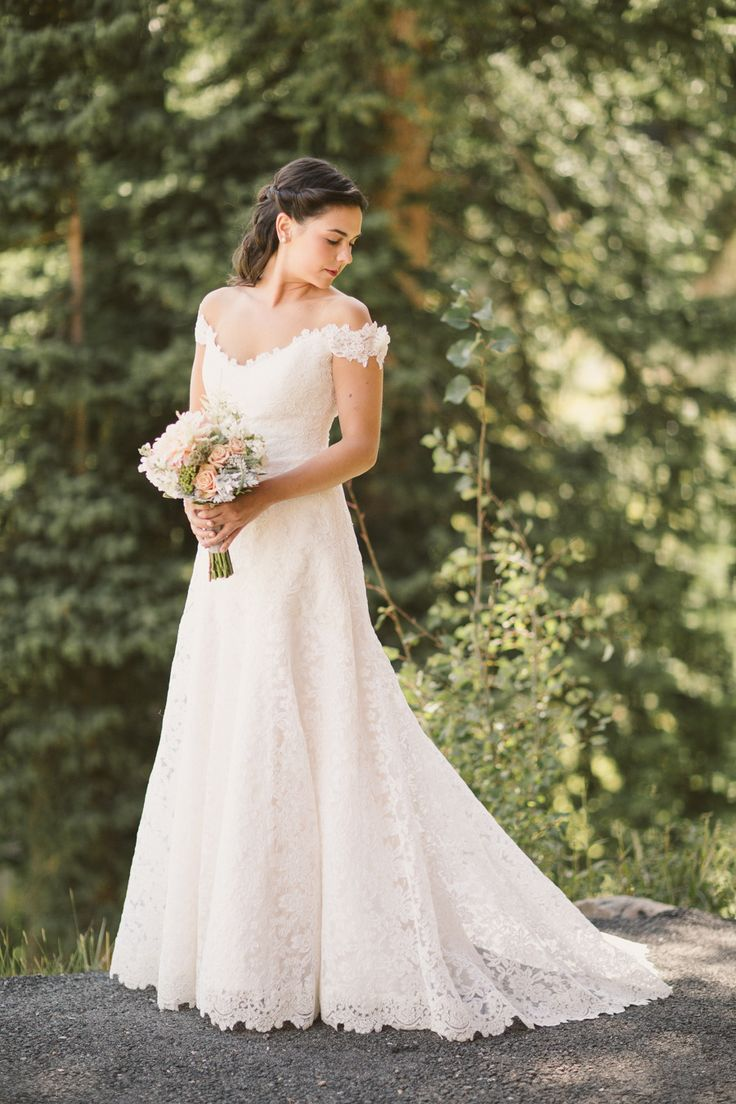 Ramona Keveza Wedding Gown. See more of the wedding on #smp here: http://www.StyleMePretty.com/northwest-weddings/2014/04/11/montanta-mountain-destination-wedding/ CluneyPhoto.com
