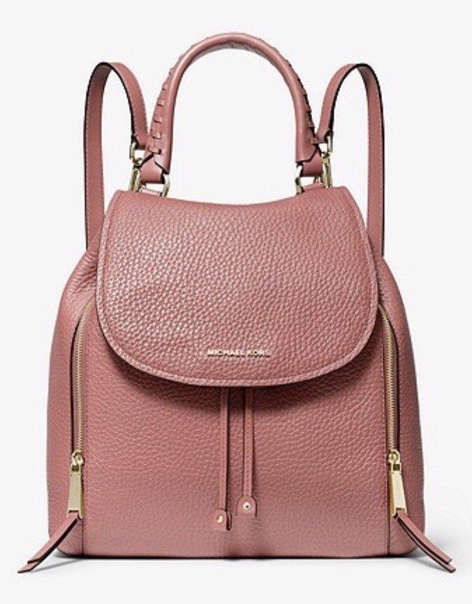8d70259e2f90 Michael Kors Viv Large Leather Backpack Bag Handbag Rose NWT  398 ...