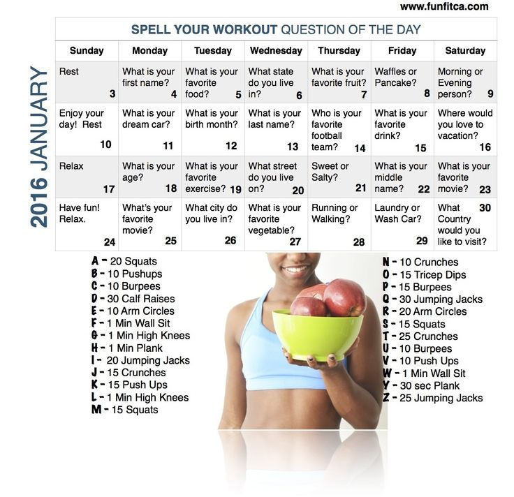 Spell Your Workout Challenge - January 2016 Workout Calendar