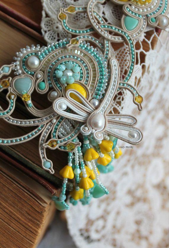 Soutache necklace White Dragonfly. Handmade.Mint by SoutacheLiusy