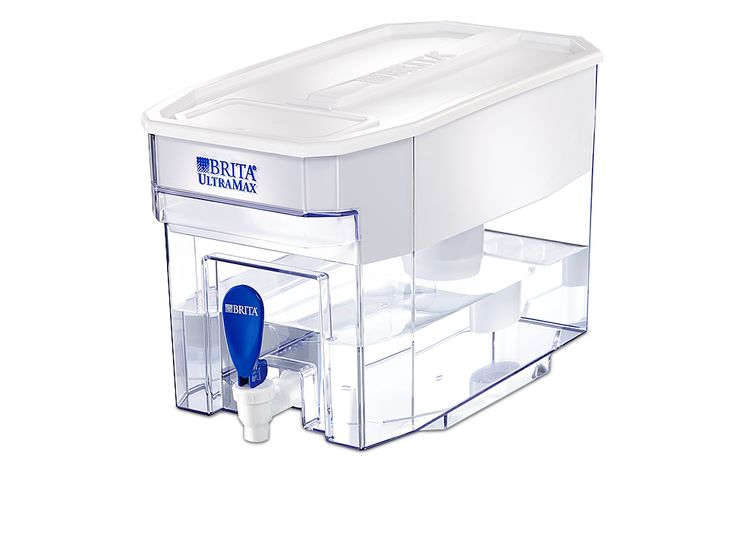Filtered Water Dispenser | Brita®. reduces 98% of lead, benzene, mercury, copper, chlorine (taste and odor), and more from tap water. With an 18-cup (144-ounce) capacity, the Brita® Ultramax works well for busy families, sports teams, and offices. Keep the fresh, great-tasting filtered water flowing by replacing your filter every 40 gallons or approximately every two months. capacity 8 oz. $43.99