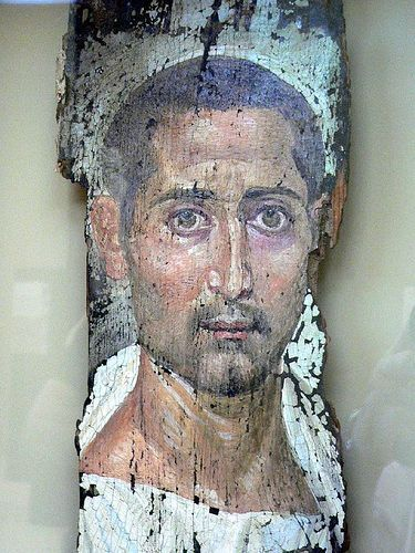Romano Egyptian Mummy Portrait Encaustic On Wood 225 to 250 CE Photographed at the J. Paul Getty Museum, Los Angeles, California (U.S.A.)