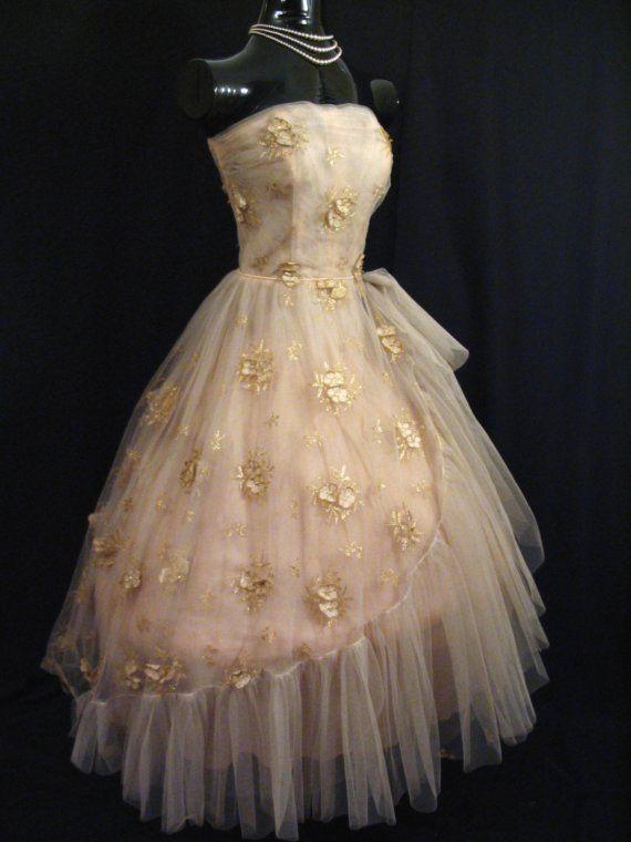 AMAZING 1950's vintage prom dress Golden Age of Dresses
