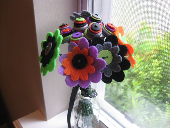 Halloween Button and Felt Flower Bouquet--Orange, Lime, Purple, Black, and Gray--Ready to Ship