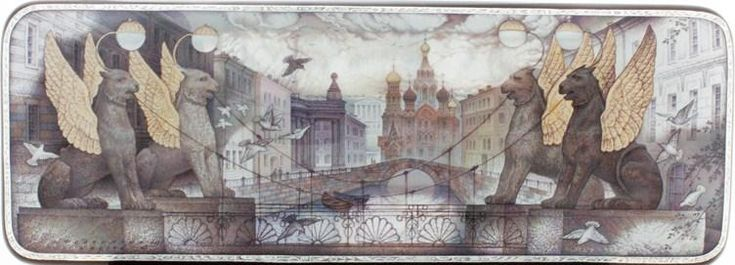 Kozlov Sergey, Fedoskino lacquer box, Sankt-Petersburg. View of Bank Bridge and Church of Resurrection (Saviour on spilled blood)
