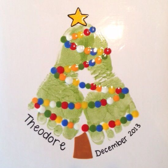Footprint Christmas Tree Painting.