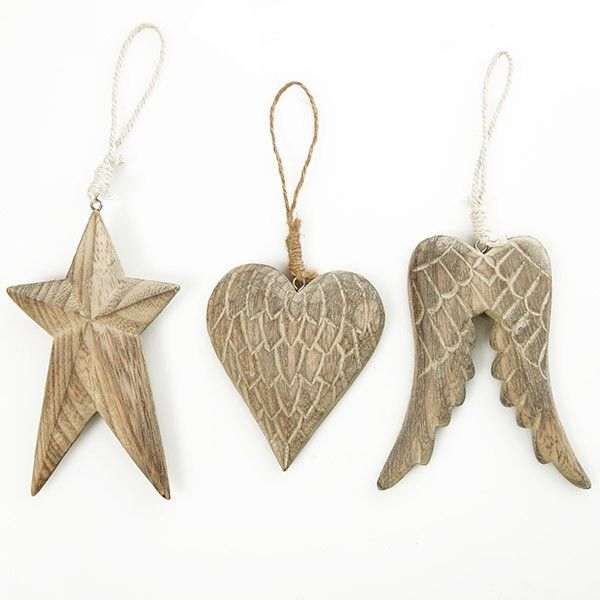 Carved Wood Christmas Tree Decorations - Set of 3