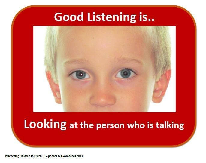 Cue card for Early Year 'Looking' rule for Listening