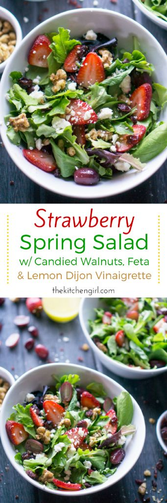 Strawberries, feta, candied walnuts, grapes, and dried cranberries...oh my! This Strawberry Spring Salad is a body-quenching source of raw nutrition! thekitchengirl.com