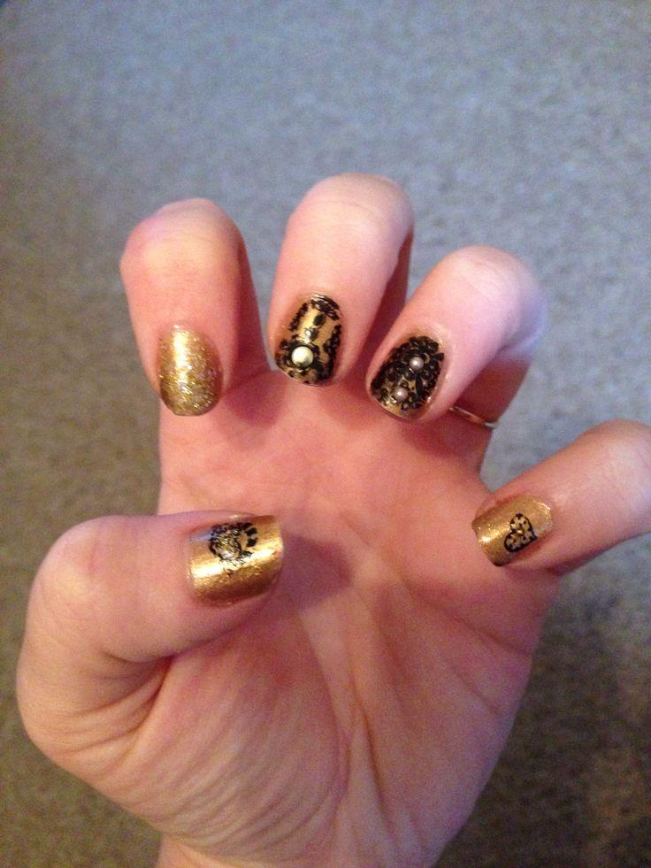 Gold and black nail art. NYE 2013 design.