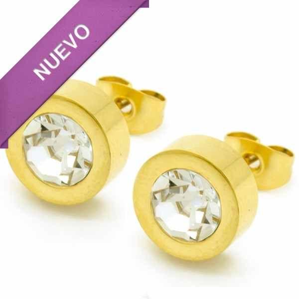 Joyas de Acero-Aros-EA0690C. Acero dorado de 10 mm punto de luz color cristal