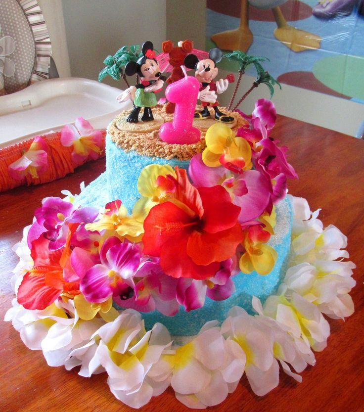 Mickey & Minnie Mouse Luau Birthday Party Cake. Hibiscus Cake. Orchid Cake. Hawaiian Luau Cake. Hula Minnie Mouse. First Birthday.