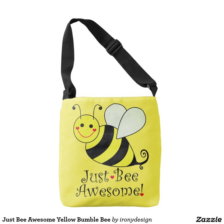 Just Bee Awesome Yellow Bumble Bee Crossbody Bag or Tote Bags. #bumblebee