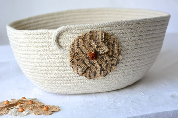 Natural Minimalist Bowl, Handmade Rope Basket, Modern Clothesline Basket, Lovely Yarn Bowl,  hand coiled natural rope basket by WexfordTreasures on Etsy