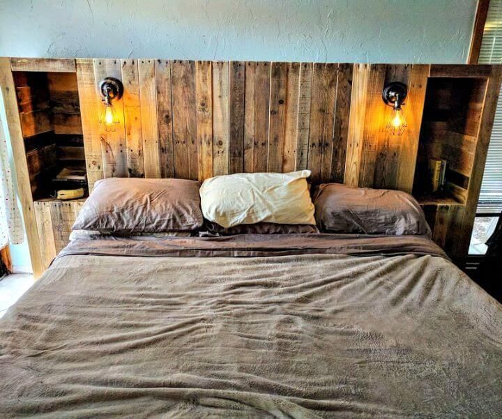 Diy Pallet Wood Headboard With Light Lamps And Storage Options 40 Pallet Headboard Ideas To D Pallet Wood Headboard Pallet Bed Headboard Pallet Headboard Diy