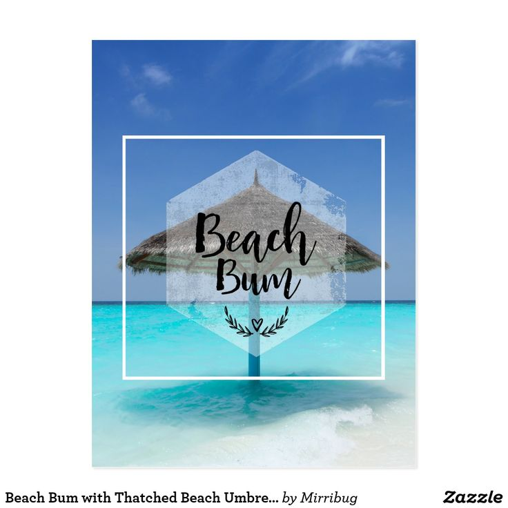 Beach Bum with Thatched Beach Umbrella Postcard
