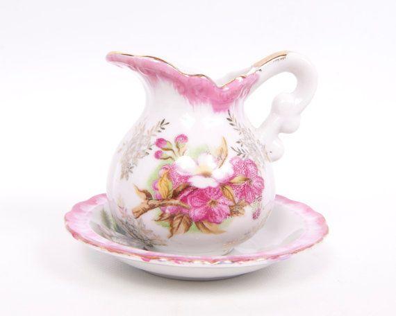 Vintage Royal Crown Pitcher and Bowl Creamer Saucer Made in Japan Hand Painted Porcelain Pink Floral Design