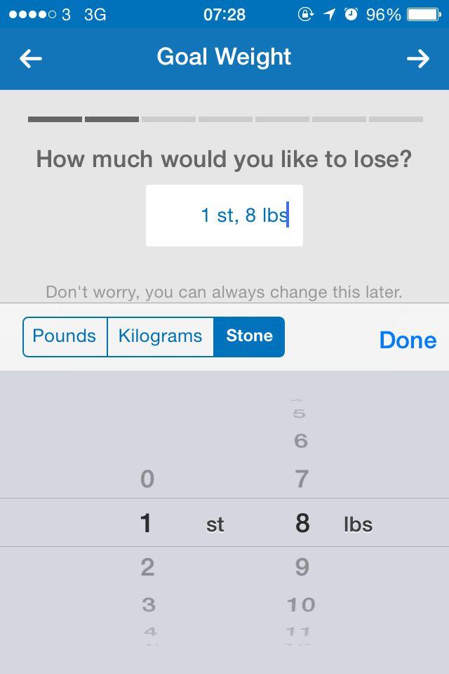 My Fitness Pall – Weight input