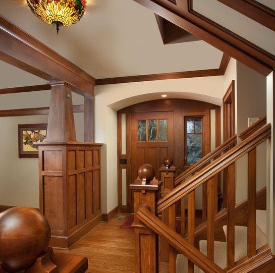 Craftsman Interior, Dark Wood Accents Versus All White