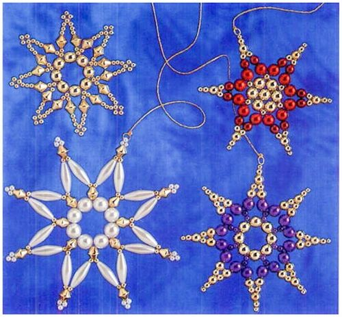 Christmas snowflakes of beads and beads