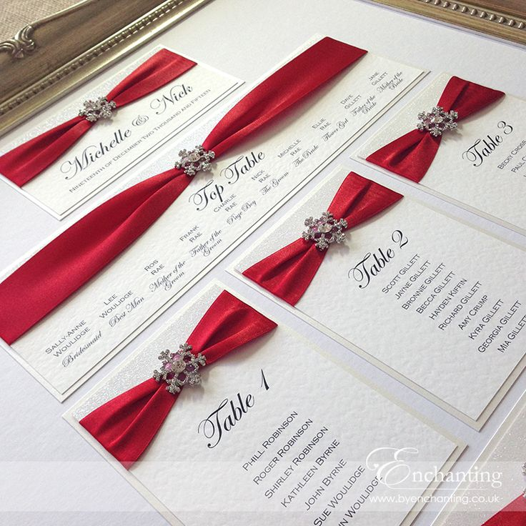 "The Cinderella Collection - Framed Table Plan Seating Chart | Featuring red satin ribbon, white glitter paper and ""Diamante Snow"" snowflake crystal embellishment 