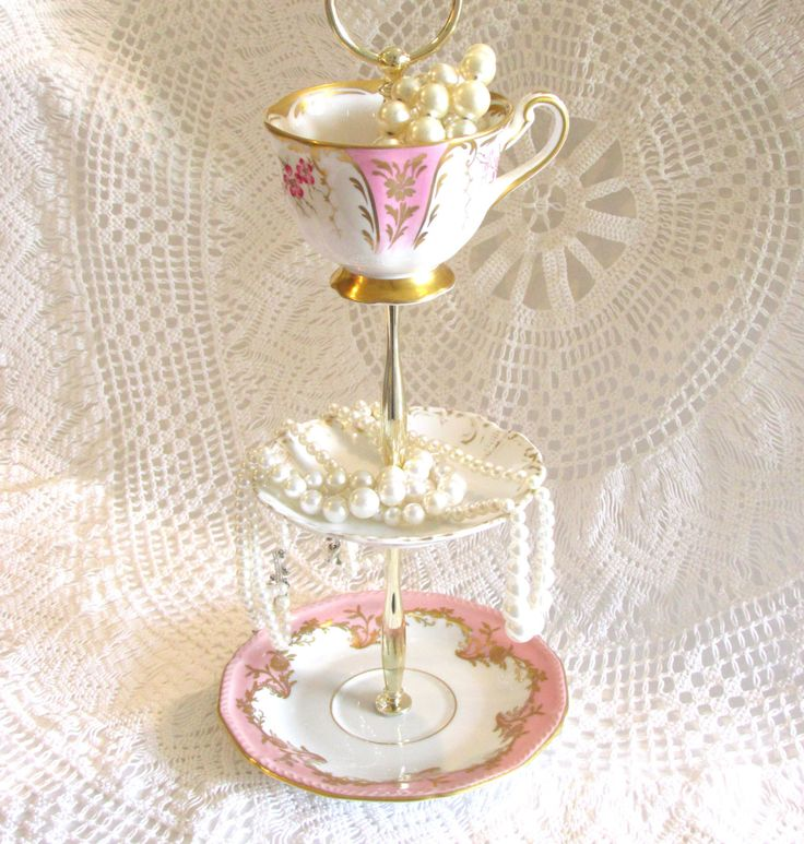 Pale Pink & Gold 3-Tier Jewelry Holder Stand Small Dessert Tray Pedestal Serving Dish with Vintage China Teacup Saucer By High Tea for Alice by HighTeaForAlice on Etsy