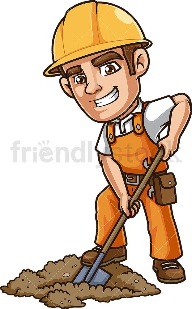 Construction Worker Digging Hole Cartoon Clipart Vector Friendlystock Construction Worker Cartoon Clip Art Cartoon