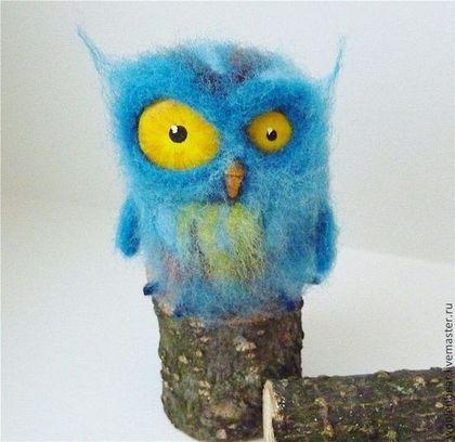 Сова - синий,сова,совы,совушка,совенок,игрушка,шерсть 100%,пластик,шерсть