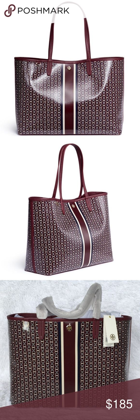 """NEW TORY BURCH GEMINI LINK TOTE BAG/PORT ROYAL Authentic. Brand new with tags.  Holds a 15"""" laptop, a pair of flats, a continental wallet, a small umbrella and an iPhone 6 Plus  Water-resistant coated canvas  Magnetic snap closure  Shoulder straps with 9.16"""" (23 cm) drop  1 interior hanging pocket Tory Burch Bags Totes"""