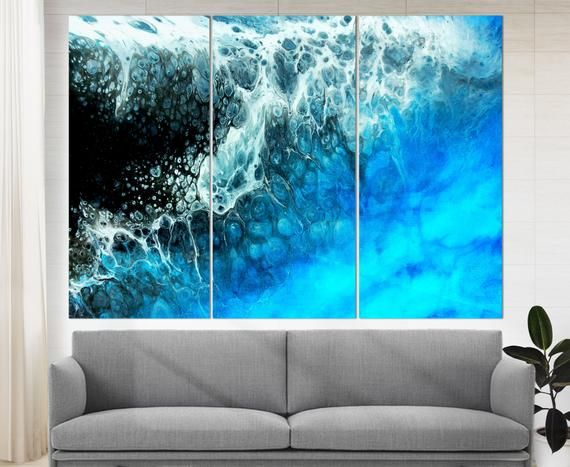 Abstract Ocean Wall Art Blue Marble Ink Painted Waves Canvas Etsy Ocean Wall Art Abstract Canvas Abstract Painting