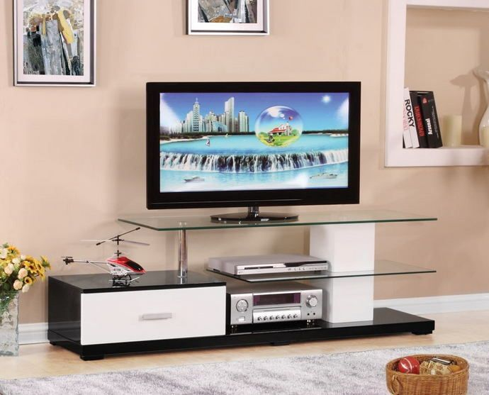 Acme 91140 Ivana White And Black Finish Woodtv Stand Glass Top And