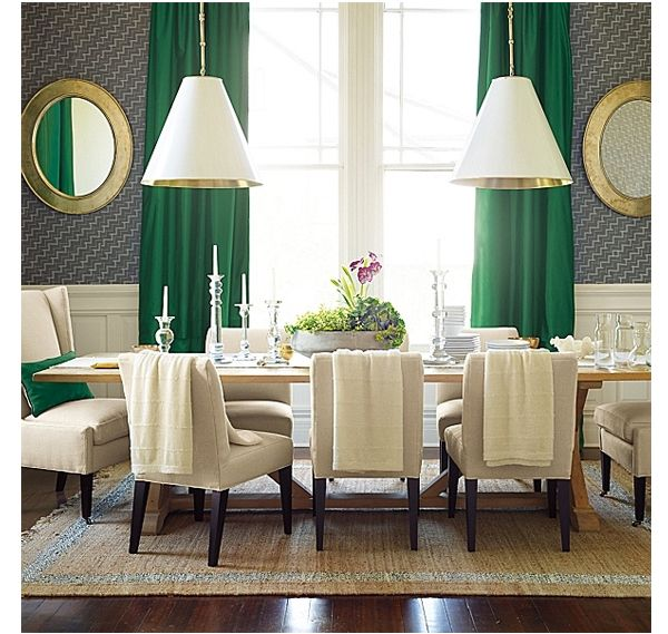 Wow; contemporary dining room with emerald green window treatments; gold and white large pendants; table flanked by gilded mirrors; chic combinations | Search Results | La Dolce Vita