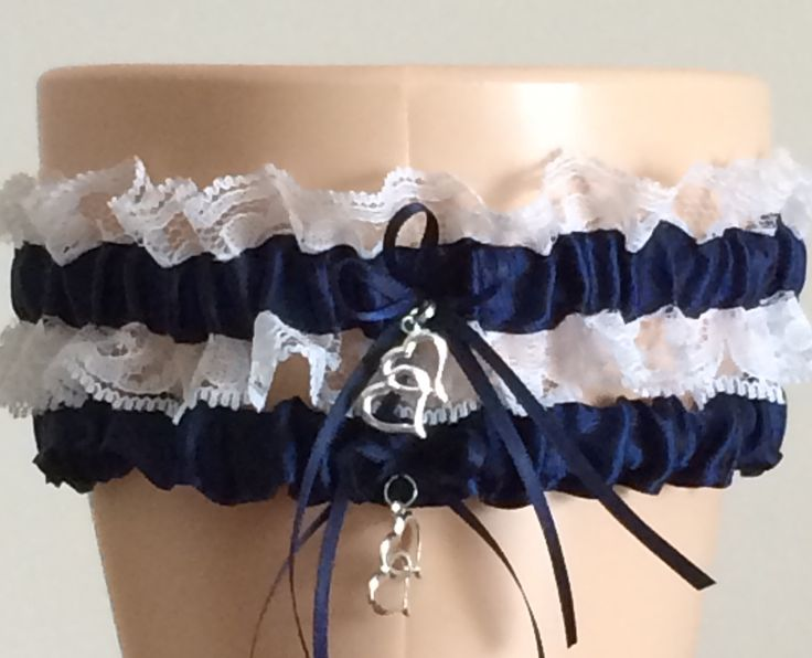 Navy Blue And White Lace Garter Set