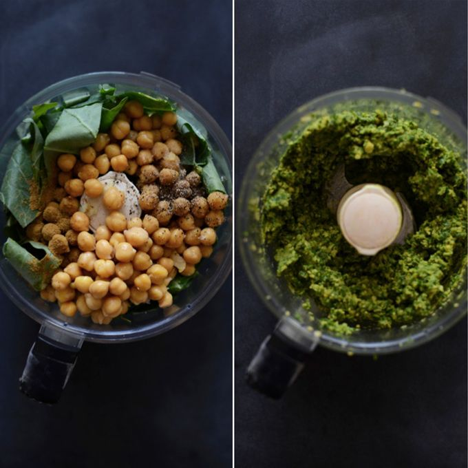 Collard Green + Chickpeas + Tahini Falafel