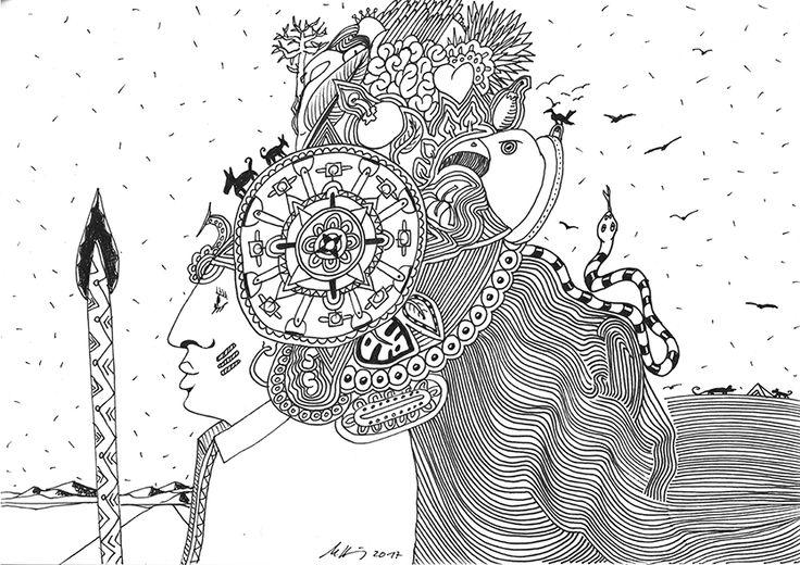 """no way back"", #india #ink #drawing (Staedtler Pigment Fineliner) on Hahnemühle #paper ""Nostalgie"",190 g/sqm 21 x 29,7cm, © #matthias #hennig 2017 #myStaedtler #hennigdesign #artwork #moremoneyforartists #unexpected"