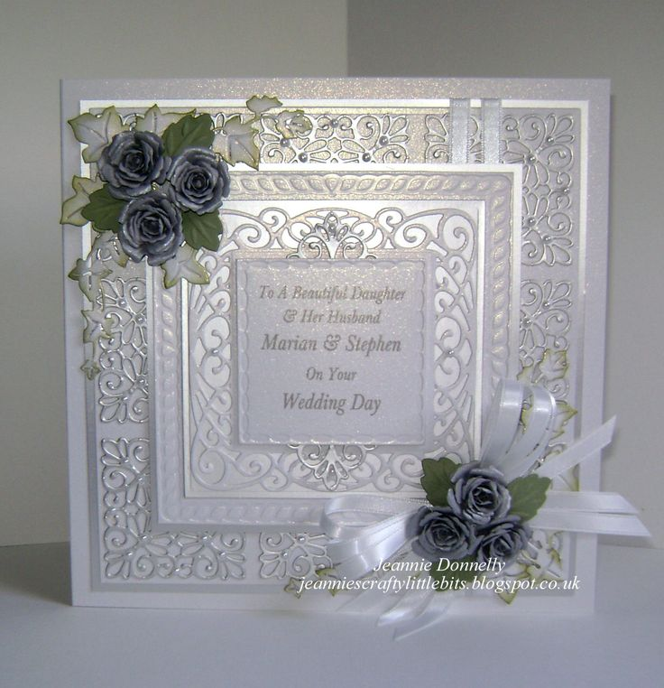 Another Wedding Day Card - Using a Creative Expressions / Sue Wilson's New York Times Square and I love how well this die cuts also using the leaf from Camellia Complete Petals, Finishing Touches Trailling Ivy and Spellbinders Grand Square Dies and Bitty Blossoms