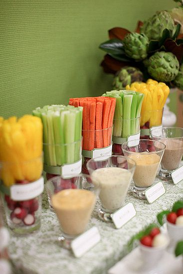 A healthy alternative to the dessert table - fruit & vege brunch table. Love the way the crudites have been arranged!