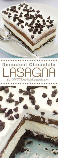 Chocolate Lasagna - Easy chocolate dessert to make with layers of flavor! Chocolate, Oreo,cream, #chocolate chips ... |