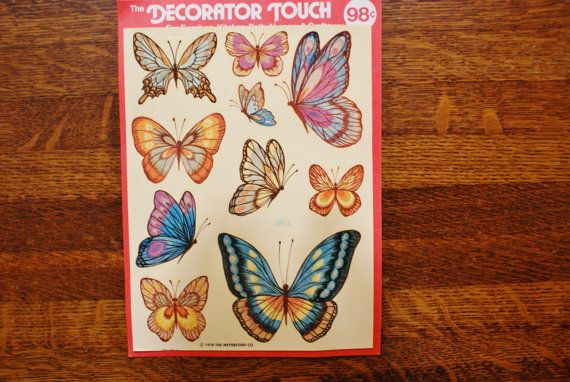 vintage butterfly stickers 1970s wall decor new in