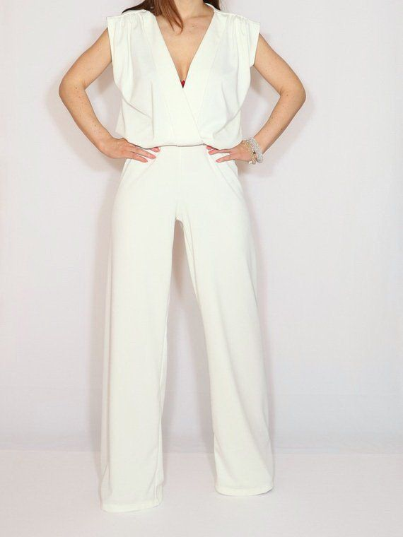84f2fe16494b Wedding jumpsuit White wide leg jumpsuit women White dress for women ...