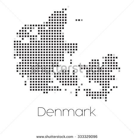 A Map of the country of Denmark
