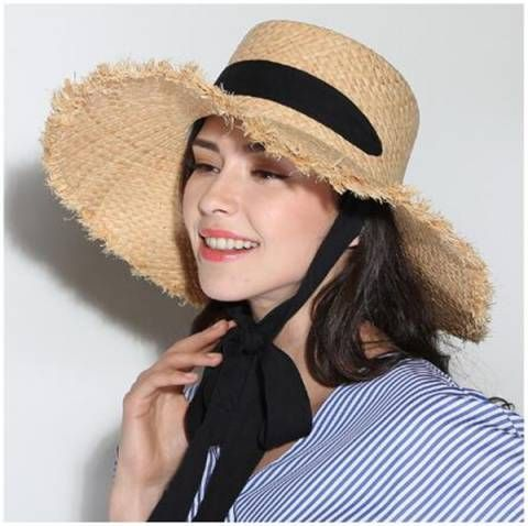 785e4c40 Ladies frayed straw boater hat summer beach UV wide brim sun hat with ribbon  tie