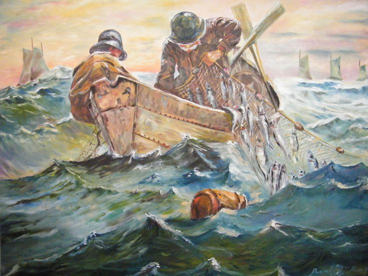 """This is another reproduction of The The The original Herring Net by American artist Winslow Homer. Painted in 1883.  I have painted this several times before. This is the largest one which is 30"""" X 30""""."""