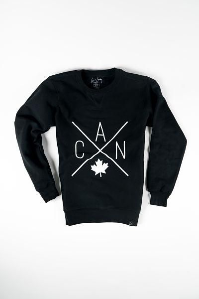 Black Canada pullover crewneck sweatshirt from Local Laundry. Also available in grey and maroon at Labrador Supply Co.
