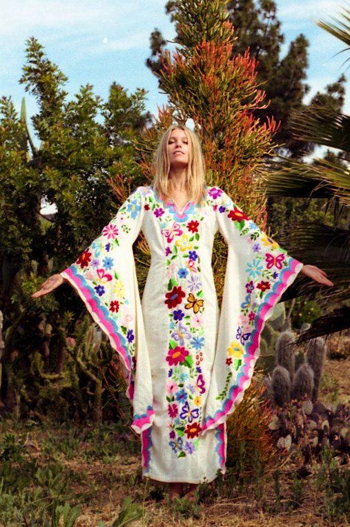 Festival Wedding Dress, Beach Kaftan w/Mexican Embroidery by NewCropShop on Etsy https://www.etsy.com/listing/233194885/festival-wedding-dress-beach-kaftan