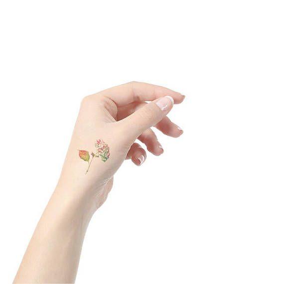 Hydrangea small temporary tattoo / floral illustration