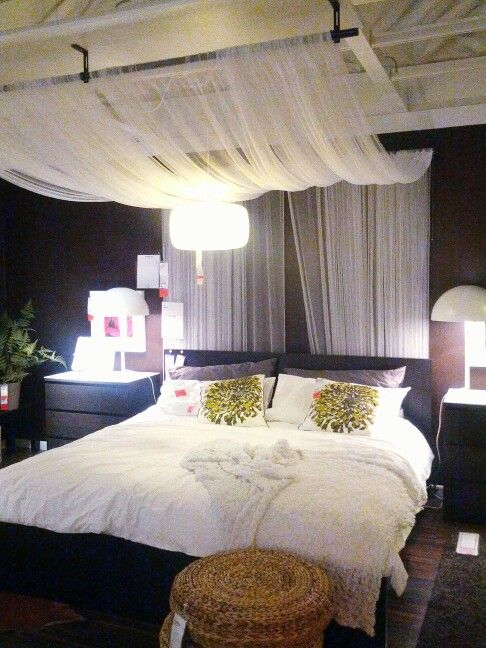 IKEA Bedroom Design: Drape sheer fabric panels from curtain rod mounted on  ceiling. So