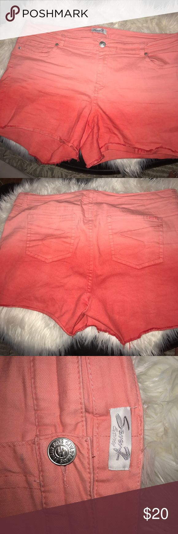 Women's shorts ~seven by lane Bryant Gorgeous ombré women's plus size shorts in a beautiful orange color ..size 22 .. lane Bryant .. seven jean shorts ..👸🏻 Seven7 Shorts Jean Shorts