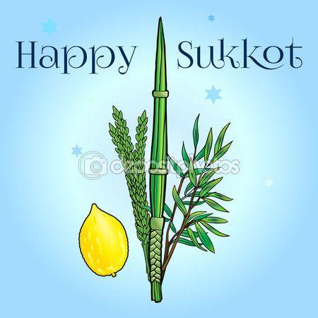 Happy Sukkot background. Hebrew translate: Happy Sukkot Holiday. Jewish traditional four species for Jewish Holiday Sukkot. Vector illustration. — Stock Vector © sofiartmedia.gmail.com #123026820